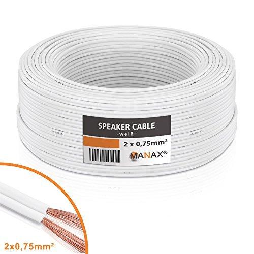 MANAX® Lautsprecherkabel 2 x 0,75mm² weiß 50,0 m Ring