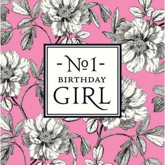 Un Alice Scott card: n. 1Birthday Girl 'rosa con fiori-Nuovo in cello