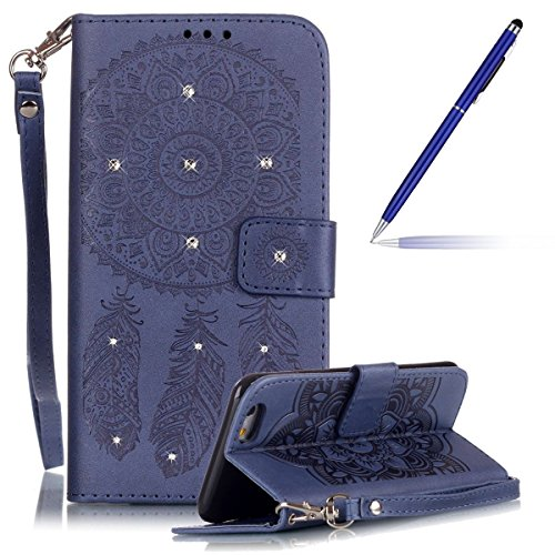 iPhone 6 Hülle,iPhone 6S Ledertasche - Felfy PU Ledertasche Luxe Bookstyle Ledertasche Schutzhülle Edle Temperament Campanula Flower Muster Flip Standfunktion Magnetverschluss Protection Shell Case Hü Bling Marineblau