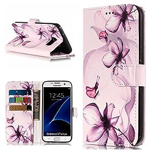 FNBK Kompatibel mit Hülle Samsung Galaxy S7 Edge Handyhülle Marble Tasche Leder Flip Case Brieftasche Etui Schutzhülle Kompatibel mit Hülle Samsung Galaxy S7 Edge Klappetui Kartenschlitz Ständer,Blume