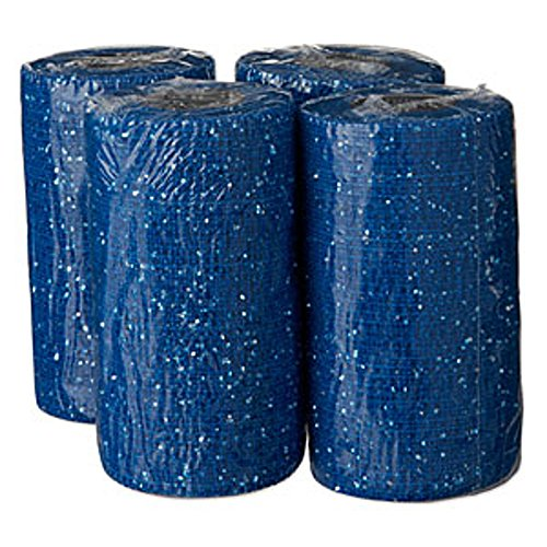 Powerflex Bandage, Glitzer-Effekt, 4 Stück Haftbandagen, Pferdeverband, blau, 10 cm x 4,5 m