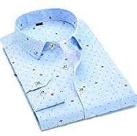H&E Men's Long Sleeve Lapel French Cuff Non-Iron Slim Shirts X-Large Sky Blue