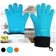 Hitzebeständig Ofenhandschuhe - Silikon Grillhandschuhe BBQ Handschuhe zum Kochen, Backen, Grillen, Barbecue durch Double Elite, blau, 2er Set