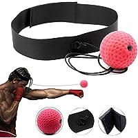 Imixcity Bola de Entrenamiento de Boxeo Bola de la Lucha con Diadema para el Entrenamiento de La Velocidad del Reflejo,Rojo (Rojo)