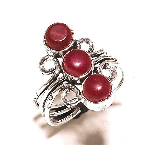Designer Schmuck für Mädchen. Rot Gefärbt Ruby Sterling Silber Overlay 5Gramm Ring Größe 8,5US