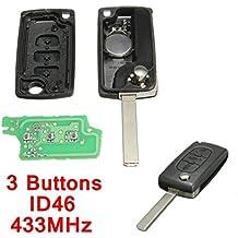 Katur Carcasa para llaves de coche con control remoto, 3 botones, clave, pila de repuesto, chip ID46 compatible con Peugeot y Citroën Berlingo, frecuencia de 433MHz