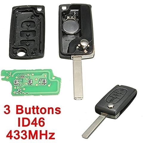 katur 433MHz 3botones carcasa de mando de coche batería de repuesto ID46con chip para Peugeot y Citroën BERLINGO