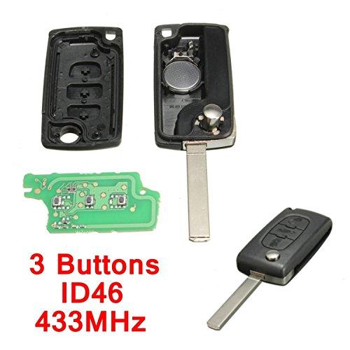 katur 433MHz 3Tasten Auto Fernbedienung Key Cover Shell Fall Ersatz mit Akku ID46Chip für Peugeot Citroen Berlingo