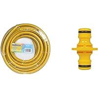 Hozelock Tricoflex Ultraflex Hose, Yellow, 12.5 mm x 10 m/2333781 & Double Male Connector