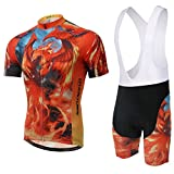 Weelly Cyclisme Sport Maillot Manches Courtes Cuissard Shorts Homme (B, XL (Fr Large))