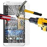 HTC One M7 Tempered Glass Crystal Clear LCD Screen Protector Guard & Polishing Cloth SVL37 BY SHUKAN®, (Tempered Glass)