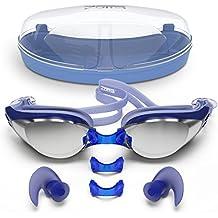 Estructura Sport-Gafas de natación cristales 100% contra rayos UV tecnología antivaho durable Cubierta grande regulable, ángulo de visión de 180° Funda y tapones para los oídos de silicona incluye unisex Azul Azul