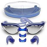 Schwimmende Schutzbrille mit Antifog Technologie für Frauen und Männer - Kundengerechte Nasen-Brücke für den vollkommenen Sitz für Erwachsene und Kinder - verpackt im erstklassigen Schutzbrillen-Fall - FREIE ergonomische Silikon-Ohrstöpsel eingeschlossen