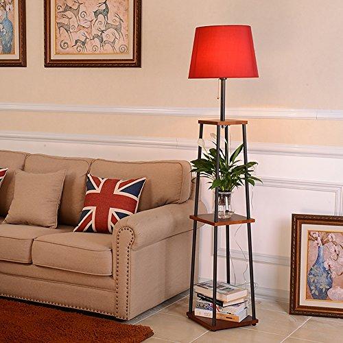 YILIAN luodideng Solide Bois + Fer forgé canapé lampadaire Pot étagère, Chambre Salon Simple Moderne créative Chevet Lampe de Table (Couleur : Red)