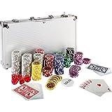 Coffret de poker ultime - 300 jetons lasers 12 g avec insert en métal - 2 jeux de cartes - 5 dés - 1 bouton dealer - mallette en aluminium