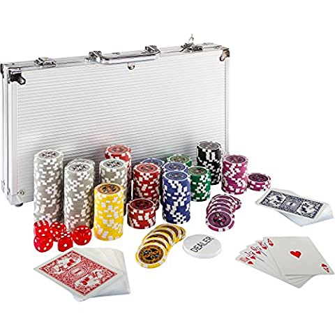 Ultimate Pokerset mit 300 hochwertigen 12 Gramm METALLKERN Laserchips, inkl. 2x Pokerdecks, Alu Pokerkoffer, 5x Würfel, 1 x Dealer Button, Poker, Set, Pokerchips, Koffer,