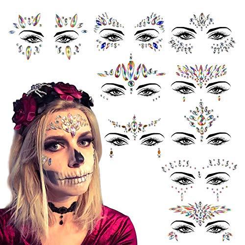 KATOOM 9er Gesicht Edelsteine Selbstklebend Strasssteine Skull Make Up Glitzersteine Day of The Death Strass Steine Aufkleber Körperschmuck Schmucksteine für Halloween Party Karneval