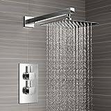 """Mitigeur thermostatique de douche avec douchette à main - 12 """"- SS2004 tête"""