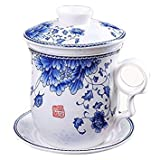 Hand Painted Peony Flower Teacup,Jing Dezhen Blue and White Porcelain Tea Cup With Lid and Saucer, For Household,Office,6.3 Ounce