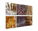 Exklusive Bilder auf Leinwand bespannt (6 Stück 30x30cm) - Abstrakt Brauntöne Erdtöne Kunst Muster