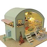 DIY Puppenhaus Sunshine Handmade kleines Haus LED Holz Spielzeug Puppenhaus Zimmer, 5,9 * 4,3 * 5,1 Zoll Miniatur Dollhouse Kit mit Abdeckung, Upxiang Geschenk für Geburtstag / Valentinstag (Grün/11.6 * 11.5 * 6.69 zoll)