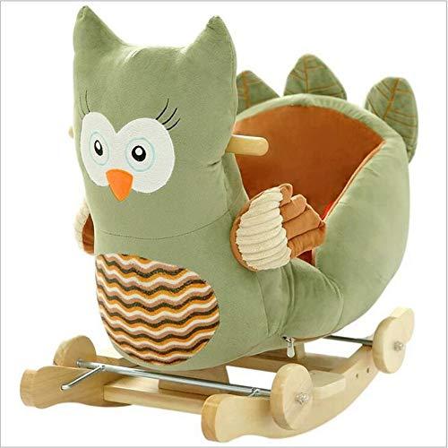 Nattou Schaukeltiere,Kleinkind Rocker 2 In 1 Plüsch Schaukelpferd Mit Rad Indoor-Outdoor Schaukelpferd Spielzeug Garten Schaukelpferd