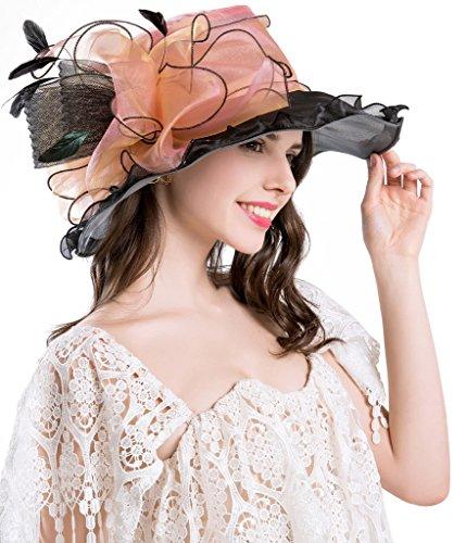 Kentucky Derby Hüte für Damen Organza Fascinator British Tea Party Hochzeitskleid Cap Mysterious UPF 50+ Pink (Kentucky Derby-hüte Damen)