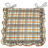 Set 6 cuscini Fantasia, con volant 40x40 spessore 5 cm, copri sedia cucina, Euronovità