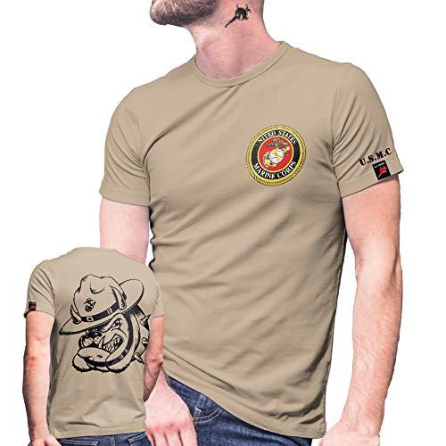 USMC Dog Shirt Einheit USA Marine Corps US United States T-Shirt#29081, Farbe:Sand, Größe:Herren XL (United States Marine Corps Shirts)