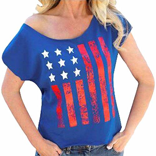 QIYUN.Z Kurze Amerikanische Flagge Druckhülse Blau T-Shirts Patriotische Mädchen-T-Shirts Frauen (Patriotische Damen-t-shirts)