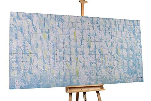 'Leises Geheimnis' 200x100cm | Abstrakt Grau Grün Muster | Modernes Kunst Ölbild