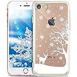 iPhone 4S Hülle,iPhone 4 Hülle,ikasus Durchsichtig mit Xmas Christmas Snowflake Weißen Weihnachten Schneeflocke Hirsch Muster Klar TPU Silikon Handyhülle Schutzhülle,WeißenSchneeflockeHirsch