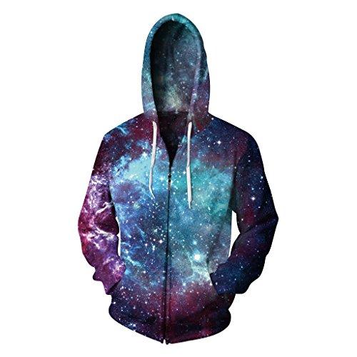 AMOMA Herren Kapuzenpullover Zip Sweatshirt Hoodie Pullover Reißverschluss(Small/Medium,Galaxy) Medium Zip Hoodie Sweatshirt