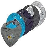 Pippi 4er Set ~ zur Auswahl ~ Baby Dreieckstuch Halstuch 4 Stück Organic Cotton + 1 GRATIS Tuch ~ 5er Pack (grey melange-dark grey melange-dunkelblau-türkis&Hund)