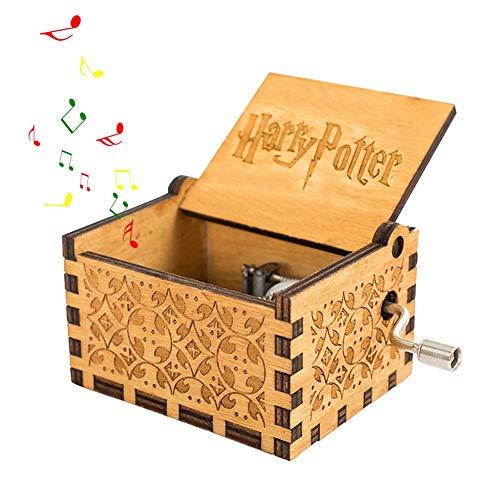 FOONEE Harry Potter Caja de música, Cajas de Madera Tallada a Mano, Caja de música de manivela Tallada Antigua, Caja de música para decoración del hogar, Juguetes, Manualidades, Regalo