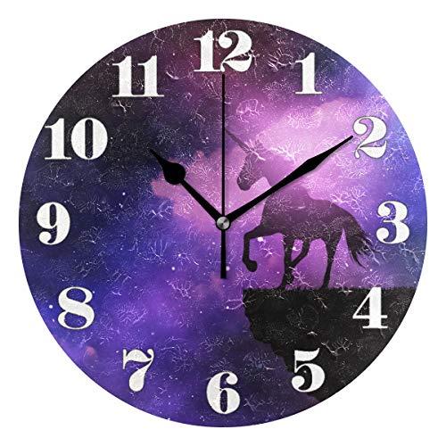 Mnsruu Runde Wanduhr Stille Nicht tickende, Einhorn gegen Space Sky Art Clock für Home Schlafzimmer Büro leicht zu lesen Sky Zeiger