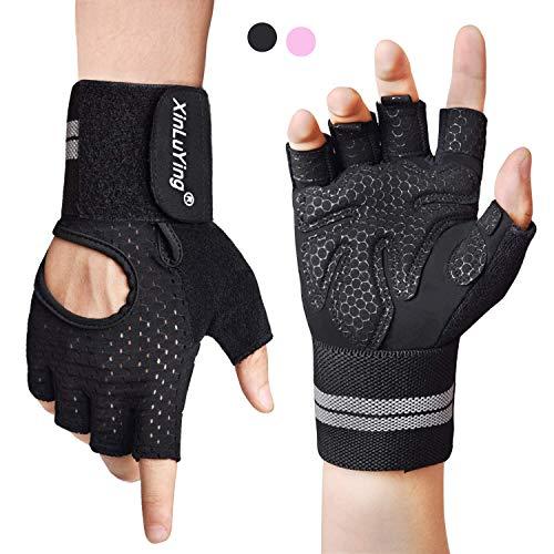 Fitself Fitness Handschuhe für Herren Damen Trainingshandschuhe mit Handgelenkschutz für Gewichtheben Krafttraining Gym Crossfit Sporthandschuhe Workout Gloves (Erwachsene Kurze Fingerlose Schwarze Handschuhe)