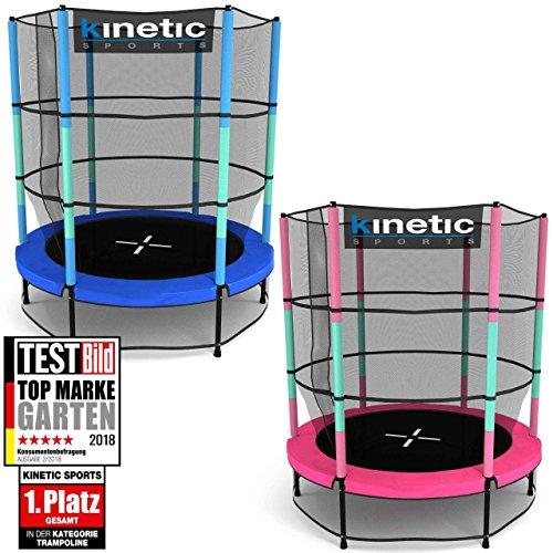 Kinetic Sports Trampolino Bambini Indoor Tappeto Elastico 140 Bordo di Protezione Sistema Corda Elastica Rete di Sicurezza Rosa Blu o Verde