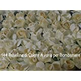 144 FIORELLINI ROSELLINE AVORIO per BOMBONIERE SPOSI COMPLEANNO
