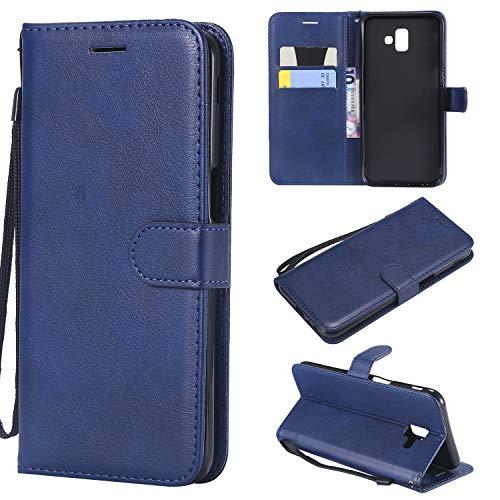 Artfeel Flip Brieftasche Hülle für Samsung Galaxy J6 Plus/J6 Prime, PU Leder Handyhülle mit Kartenhalter,Retro Bookstyle Stand Abdeckung mit Magnetverschluss Handschlaufe Schutzhülle-Blau -