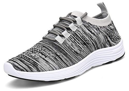 KOUDYEN Zapatillas Deporte Hombres Mujer Gimnasio Running Zapatos para Correr Transpirables Sneakers (EU40, B Gris)