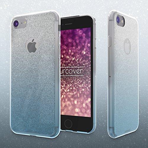 iPhone 7 Étui, Urcover Rainbow Back-Case TPU Silicone Bling [Brillant Lilas] Coque Apple iPhone 7 Housse Glitter Diamant Bleu