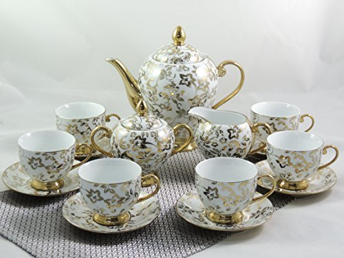 15 Pieces Porcelain Tea Service Coffee Set Gold Series
