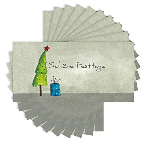 (50 x Weihnachtskarten DINlang im Set - inklusive Umschläge (Klappkarten, 210x105mm, seidenmatt auf festem Karton))
