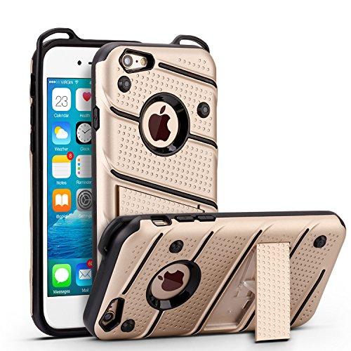 iPhone 6 6s Hülle, ocketcase® Rugged Stoßfest TPU & PC Hybrid Schutzhülle Tasche Case Cover Rüstung Plastic Bumper mit Kickstand für iPhone 6 6s - Gold (Iphone Hybrid-rüstung 6 Fällen)
