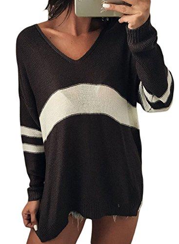 Striped V-neck Pullover (GOSOPIN Damen Sweater Striped V-Neck Pullover Zopfmuster Winter Oversize Freizeit Sweatshirt Schwarz M)