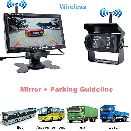 Auto Wayfeng WF drahtloser wasserdichter Fahrzeug-Unterstützungskamera-Installationssatz 7 'HD Auto-hintere Ansicht-Monitor mit IR-Nachtsicht sichern Kamera-Einparkhilfe für RV-LKW-Anhänger-Bus Camper Motorhome