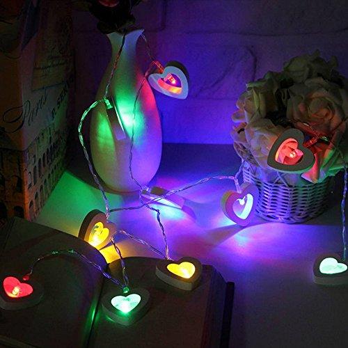 LED Herz Lichterkette Fairy String Licht, Skitic 2.2M 20er Partylichterkette Weihnachtslichterketten Deko für Innen Balkon Party Hochzeit Weihnachten Batterie-betrieben - Mehrfarben