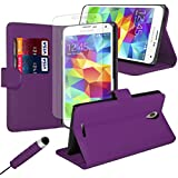 iJQ - Purple Premium PU Leather Flip Case Wallet Cover For Samsung Galaxy S5 Neo With Card Slots And Built in Stand Plus Screen Protector And Screen Stylus Pen By iJQ