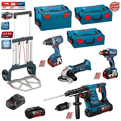 Preisvergleich Produktbild Kit Bosch RSL3618MP2HD: GWS 18 V-LI +GBH 36 VF-LI Plus + GSR 18 V-EC + GDX 18 V-EC (2 xBatterien 18V 5,0Ah + 2 xBatterien 36V 4,0Ah +Ladegerät AL1860CV + 2 x L-Boxx Koffer 136 + L-Boxx Koffer 238 + Caddy)